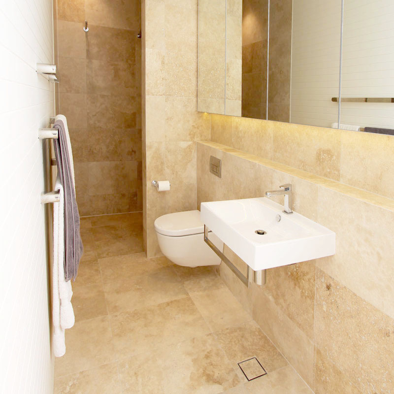 Classic Travertine Tile Bathroom
