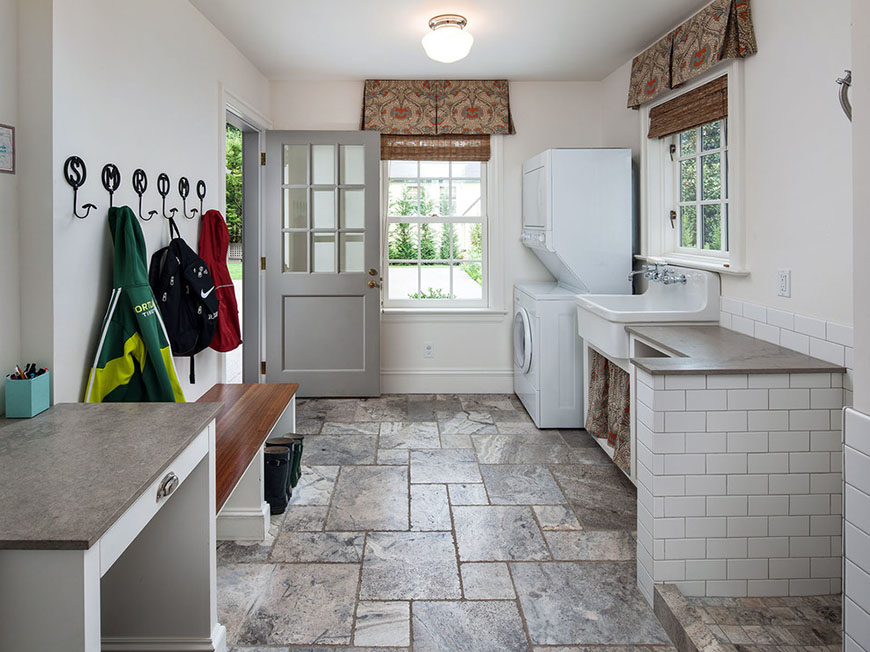 Laundry Room Stone Tile Renovation