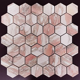 Norwegian Rose Hexagon Marble Mosaic