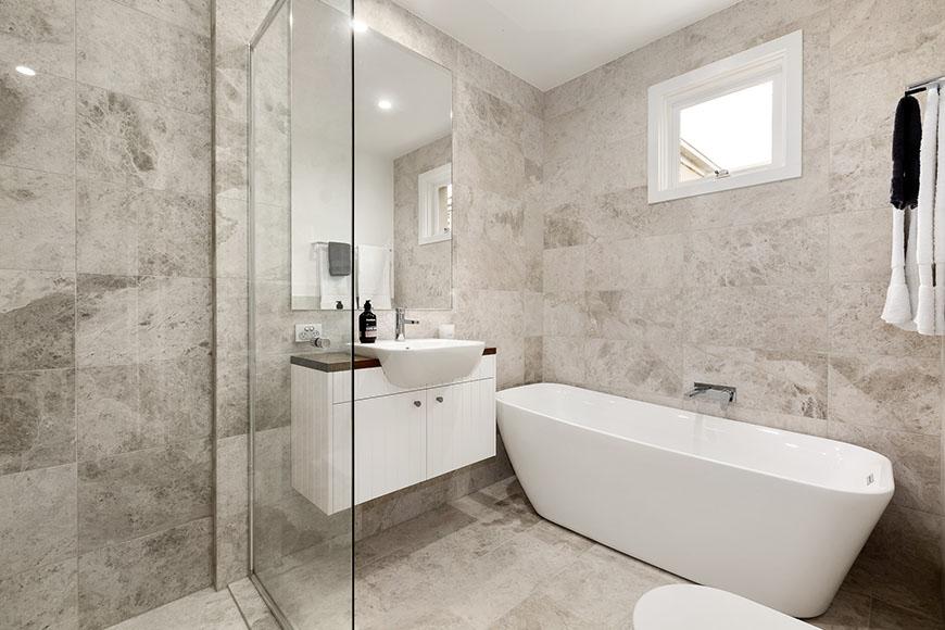 Tundra Grey Limestone Bathroom Tiles Project